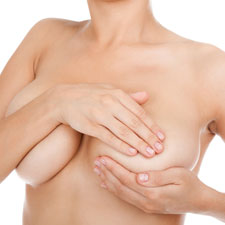 Woman with ruptured silicone implant