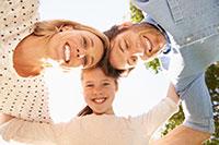 family photo with bright white smiles