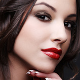 Brunette with bright red lipstick