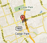 Map to our location Cedar Park Location