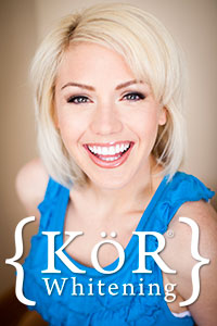 Kör Whitening logo overlaid over a smiling woman
